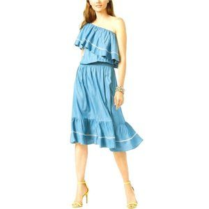 INC Ruffled Chambray One Shoulder Striped Flounce